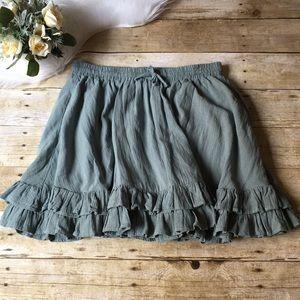 H&M Sage Green Ruffle Skirt Size 12